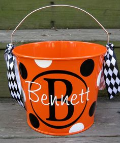 Personalized Halloween buckets by twosisters76 on Etsy. , via Etsy.