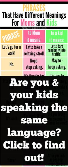 Phrases That Have Different Meanings For Moms and Kids - SO funny from @RobynHTV humor | kids | parenting