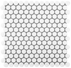 """White Matte Penny Round Glazed Porcelain 3/4"""" Mosaic. I finally found it!! I want this for the guest bathroom floor."""