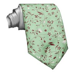 Chocolate Mint Floral Neck Ties