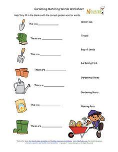 Garden Worksheet for Kids Kids Gardening tools Matching Activity Sheet Garden Tool Storage, Garden Tools, Worksheets For Kids, Activities For Kids, Childrens Gardening Tools, Organic Gardening, Gardening Tips, Kindergarten, Home Vegetable Garden