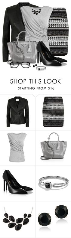 """""""Black Aztec Print Skirt"""" by snickersmother ❤ liked on Polyvore featuring Reiss, Parisian, Prada, Yves Saint Laurent, David Yurman and Glitzy Rocks"""