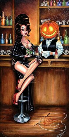 Relaxing at the bar with a radioactive brew, whilst the bartender with a glowing, Jackolantern for a head (and a couple of mice) watch on. A cocktail mix, inspired by the likes of Elvira and Bill Ward with a dash of pop- surrealism. Halloween Pin Up, Halloween Artwork, Halloween Cartoons, Halloween Horror, Happy Halloween, Playboy Cartoons, Sexy Cartoons, Comic Art Girls, Girl Artist