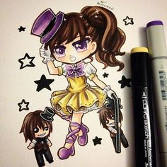 Humanised female chibi of Fred Bear (and some fredlings) from Five Nights At Freddy's 4. I can't believe FNAF 4 came out today ! Hype! #fnaf #fnaf4 #paigeeworld #copic #copicmarker #fanart #chibi #kawaiichibi #freddy #anime