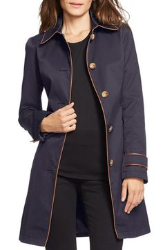 Lauren Ralph Lauren Faux Leather Trim Trench Coat available at #Nordstrom