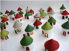 Casas de Papel Recicladas de Rolo de Papel Higienico - Cidade Natal - Ideias de Reciclagem