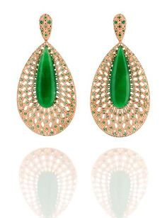 Emerald and Gold Earrings - Carla Amorim.