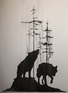 WOLVES AT NIGHT TIME