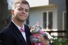 """Sam Steingard é o adolescente norte-americano que está a """"agitar"""" a Internet. Como não conseguia arranjar uma parceria para levar ao baile de finalistas, levou a sua gata, Ruby."""