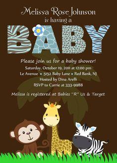 Personalizado Animal del Safari selva bebé ducha por theprintfairy
