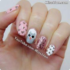 MissJJan's Beauty Blog ♥: Cute Owl Nails {Tutorial}