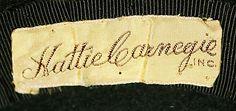 "1937. Marking: [label] ""Hattie Carnegie"""