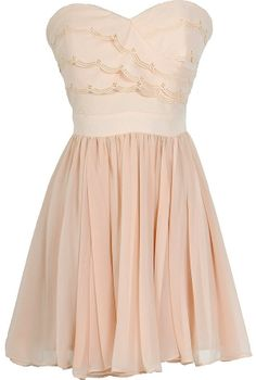 Beautiful Scalloped Dress in Nude / Ivory / Pale Pink