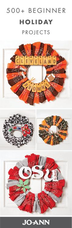 This collection of 500 Beginner Holiday Projects are so creative. From festive recipes to easy DIY decorations, we love the idea of scattering these homemade crafts throughout your home this Christmas season—especially the team-themed wreaths! Cute Crafts, Fall Crafts, Holiday Crafts, Crafts To Make, Homemade Crafts, Craft Gifts, Diy Gifts, Christmas Projects, Christmas Crafts