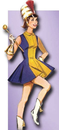 1960s Vintage Teen Skating Majorette Costume 1960 Butterick Sewing Pattern Sz 9 #Butterick #IceSkatingCostume