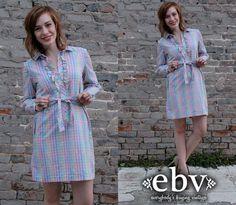 #Vintage 80s Pastel Striped Tuxedo Ruffle Mini Dress M L by shopEBV http://etsy.me/124YSfX via @Etsy #rainbow #etsy #shopEBV #summer by shopEBV, $48.00