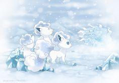 Alolan Vulpix(ice type) and Ninetails(ice/fairy type) from Pokémon Sun and Moon