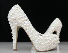 Personalizado feito elegante mulheres de salto alto plataforma de pérola e strass sapatos de noiva dama de honra vestido de festa em Bombas das mulheres de Sapatos no AliExpress.com | Alibaba Group