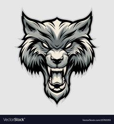 Angry wolf head image vector image on VectorStock Werewolf Tattoo, Werewolf Art, Wolf Tattoo Design, Wolf Design, Wolf Eye Drawing, E46 330i, Headdress Tattoo, Wolf Tattoos Men, Angry Wolf