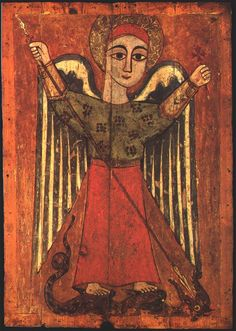 The Encomium of St Severus upon the Archangel Michael. The Intercession of the Archangel Michael in St Severus of Antioch - St George Orthodox Ministry Religious Images, Religious Icons, Religious Art, Byzantine Icons, Byzantine Art, Archangel Michael, Angelus, Arte Popular, Orthodox Icons