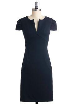 Chic & Him Dress - Blue, Solid, Sheath / Shift, Cap Sleeves, Work, Mid-length