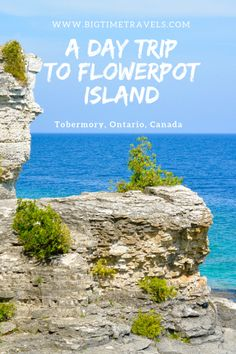 """Flowerpot Island is off the coast of Tobermory, Ontario Canada making it a perfect day trip. The island is known for its turquoise waters and famous """"flowerpot"""" rock pillars. Flowerpot Island, Canadian Travel, Canadian Rockies, Manitoulin Island, Parks Canada, Canada Trip, Ontario Travel, Canada Destinations, Travel Photos"""