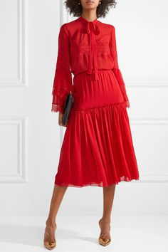 Giambattista Valli - Gathered Silk-chiffon Midi Skirt