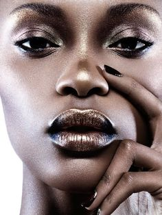 Metallic look on dark skin.