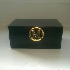"""Classic Black Jewelry Box - Gold Letter """"M"""" Great jewelry box to put your jewelry. It measures 6 inches in length, 4 inches in width, and 2 3/4 inches high.  Inside measures 5 1/4 inches long and 3 1/4 inches wide.  ❇ Feel free to make an offer ❇ Jewelry"""