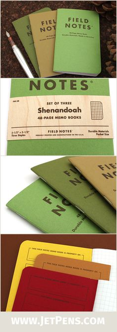 The Fall 2015 limited-edition Shenandoah Field Notes feature three green covers that match three trees found at Shenandoah National Park!
