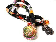 Wrap Bracelet, Black Floral Fabric Czech Glass Button Charm Bracelet, Bridesmaid Gift, Japanese Kimono Fabric