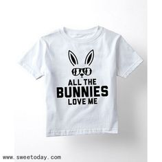 All the bunnies love me kids tee Easter tee - Holiday Shirts - Ideas of Holiday Shirts - All the bunnies love me kids tee Easter tee Easter Shirts For Boys, Boys Shirts, T Shirt Body, Vinyl Shirts, T Shirts With Sayings, Shirt Designs, Trends, Bunnies, Disney