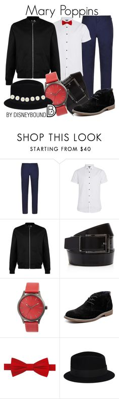 """""""Mary Poppins"""" by leslieakay ❤ liked on Polyvore featuring DKNY, Topman, Salvatore Ferragamo, Simplify, Hush Puppies, Tommy Hilfiger, Maison Michel, Monsoon, men's fashion and menswear"""