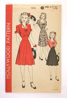 Hollywood 1315 - a 12 gored skirt! With a diamond inset waist and a really interesting tied neck detail.