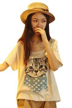 Amazon.co.jp: (オッサエプ)OASAP 可愛い猫 プリント ハイローTシャツ: 服&ファッション小物通販