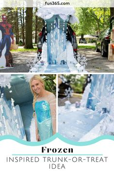 Kids will love meeting Elsa and visiting this frozen inspired trunk! Check out the details to create your own. Frozen Halloween, Fall Halloween, Halloween Party, Frozen Theme, Frozen Party, Autumn Theme, Winter Theme, Halloween Themes, Halloween Costumes