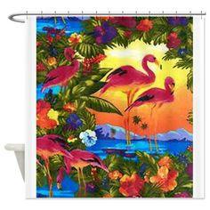 flamingo bathroom decor | ... Bathroom Accessories & Décor > Flamingo Birds Shower Curtain