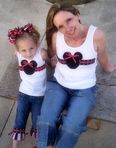 Custom Boutique Girls Mommy and Me MICKEY MINNIE MOUSE Spring Summer Traditional Black Red Disney Vacation Ribbon Applique Shirt or Tank Top. $32.00, via Etsy.