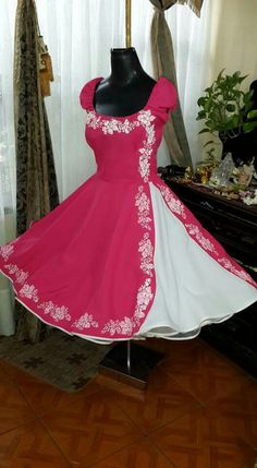 Vestido cueca 50s Dresses, Dance Dresses, Cute Dresses, Beautiful Dresses, Evening Dresses, Formal Dresses, I Dress, Baby Dress, Pink Fashion