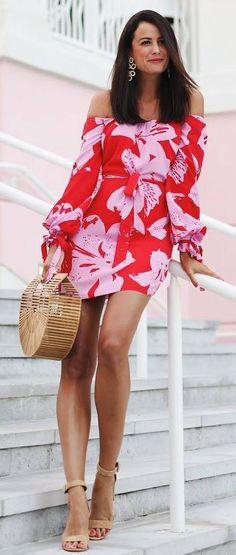 #spring #outfits red shoulderless dress, beige sandals