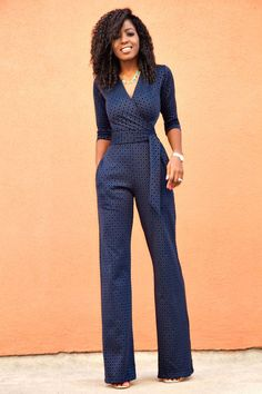 navy polka dot jumpsuit for trendier casual offices | Skirt the Ceiling | skirttheceiling.com