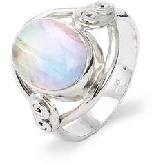 Sterling Silver Oval Rainbow Moonstone Ring ($60) ❤ liked on Polyvore featuring jewelry, rings, sterling silver rings, handcrafted jewelry, handcrafted rings, handcrafted jewellery and hand crafted jewelry