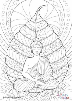 Buddhist Mandala Coloring Pages Buddha Colouring Page 2 Buddha Drawing, Doodle Art Drawing, Buddha Painting, Mandala Drawing, Buddha Kunst, Buddha Art, Mandala Artwork, Mandala Painting, Outline Drawings