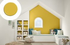 """Though perfect for a kids' space—it's fun and gender neutral—Kim recommends this shade for giving any room a mood boost. """"The sunny, natural yellow brings the outside in,"""" she says. Shown here: Valspar Roman Ornament 3009-3"""