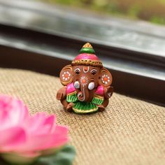 ExclusiveLane Terracotta Handpainted Baby Car Ganesha -Idols and Figurines Clay Ganesha, Lord Ganesha, Ganesha Art, Lord Shiva, Ganesha Pictures, Ganesh Images, Ganesh Idol, Thing 1, Gold Art