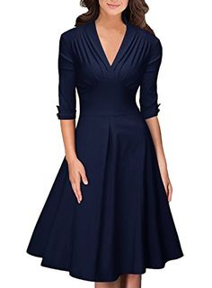Women's Casual Dresses - OWIN Womens Retro DeepV Neck Half Sleeve Vintage Casual Swing Dress Party Dress * Continue to the product at the image link.