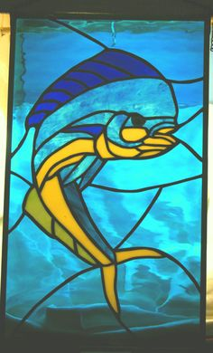 Stained Glass Mahi-Mahi Dorado  Dolphin Fish Panel by glassnwood