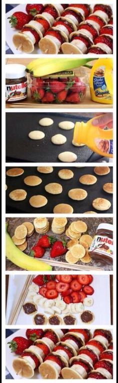Tiny pancakes. Healthy foods on a stick. Strawberries. Nutella.