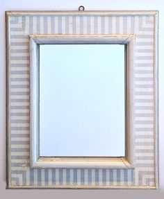 Antique Blue and White Painted Stripe Mirror with New Glass Italian, Circa 1910