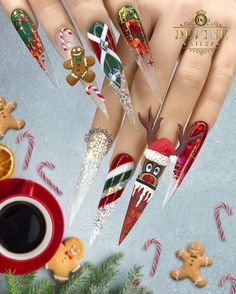 🎵 Rudolph the Red-Nosed Reindeer 🎶🦌🔴❄️🎄🎅🏻 All hand-made with Gel, acrylic powder and gel polish. Nails by Andy @ Devine Nailspa - Plano… Christmas Things To Do, Christmas Time, Christmas Nail Designs, Christmas Nail Art, Bling Nails, Swag Nails, Andy Devine, Rudolph The Red, Red Nosed Reindeer